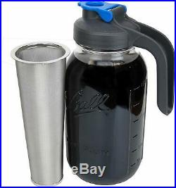Cold Brew Mason Jar Coffee Maker With Flip Cap Handle Lid Stainless Steel Filter