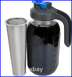 Cold Brew Mason Jar Coffee Maker with Handle by County Line Kitchen 2 Quart, 6