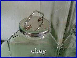 Complete Set of 4 Vintage Triangle 3 Sided HIMARK Green Glass Jars Cannisters
