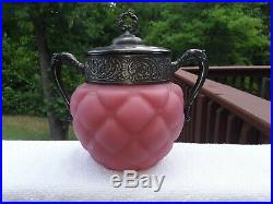 Consolidated Pink Satin Florette Cracker Jar Handles