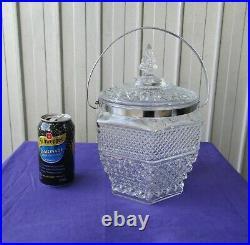 Cookie Jar Biscuit Barrel Large Pressed Glass Chrome Handle Vintage