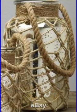 Cottage Home Decor Mercury Glass Jar with Rope Handle Jute Net 12