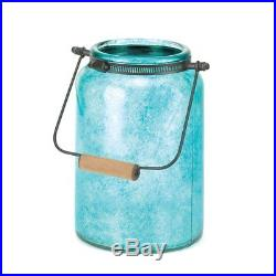 Country-Style Glass Jar Candle Lantern withHandle Large Blue Small Green 4PC Mixed