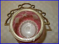 Cranberry Glass Cut to Clear Biscuit Jar Silver Plated Handle and Lid