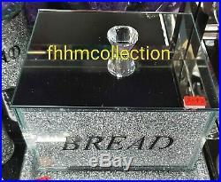Crushed Crystal Diamond Silver Bread Bin Glass Box Jar Kitchen Dining NEW