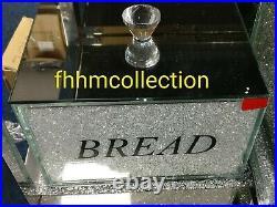 Crushed Crystal Diamond White Bread Bin Glass Box Jar Kitchen Dining NEW