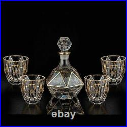 Crystal Red Wine Glass Bottle With 4 Cups Decanter Whiskey Liqour Pourer Jar Jug