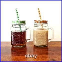 Crystalarc Pack of 1 Glass Jar with Lid and Straw 450 ml Glass Milk Container