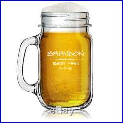 Custom Engraved Personalized Mason Jar Glass Mug with Handle Wedding Party