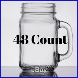 Customizable Mason Jar 16-Ounce with Handle 48 PCS Drinks Beverage Thick Glass