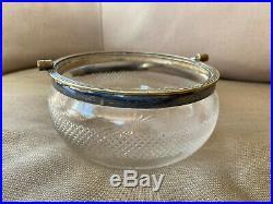 Cut Clear Glass Biscuit Jar Barrel Candy Bowl Dish Metal Handle Rim HELP Antique