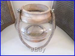 DECORATIVE WOOD ROUND GLASS BOWL JAR CANDLE HOLDER LANTERN VASE with HANDLE NEW
