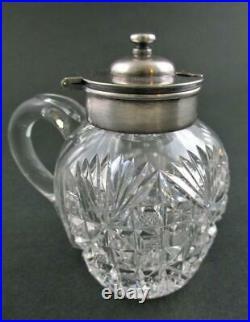 DIAMOND STAR ABP handled MUSTARD jar POT silver lid T. B. Clark circa 1900