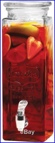 DISPENSER DRINK WATER COCKTAIL TAP HANDLED JUICE PUNCH PARTY GLASS MUGS JAR 80oz