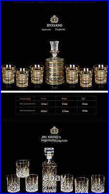 Decanter Whiskey Liquor Pourer Crystal Glass Wine Red Bottle Cups Bottle Jar New