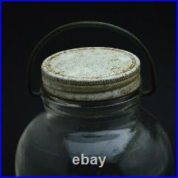 Duraglas collectible antique pair glass jar with metal lid and handle 1/2 gal -e