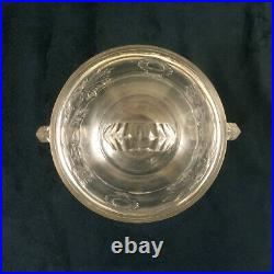EAPG Cranesbill Sugar Bowl Jar with Lid and Handles Pressed Glass Antique
