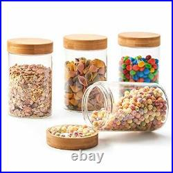 EZOWare 4 Piece Glass Airtight Jars Storage Canister Container Set with Bamboo