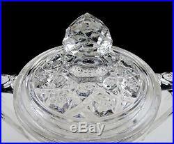 Eapg Cambridge Glass Near Cut Ribbon Candy Handled 7 1/2 Cracker Biscuit Jar