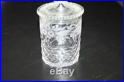 Early Cut And Etched Marmalade Jam Jar With Etched Glass LID And Metal Handle