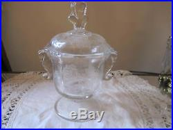 Echted ROSES Seahorse Handles Covered Footed Candy Jar Elegant Etched Glass