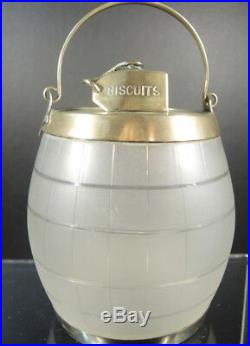 English 19C Antique W Whiteley Glass Advertising Biscuits Barrel Jar Bail Handle