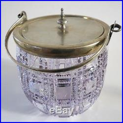 English Art Nouv molded purple glass biscuit jar brass lid handle 6.5 h x 6.5 w