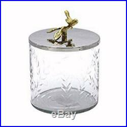 Etched Glass Storage Jar Hammered Stainless Lid with Brass Birds & Branches Handle