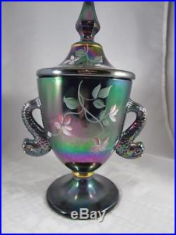 FENTON Black Carnival Hand Painted DOLPHIN HANDLE 9 Covered Candy Box Jar