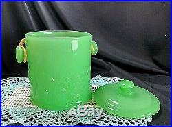 FENTON JADE BIG COOKIES COOKIE JAR WithWICKER HANDLE