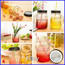 Fashional Vintage Glass Drinking Jar Handle Lid 500ML Retro Party Gift Decor Cup