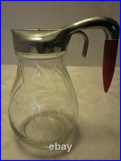 Federal SYRUP DISPENSER GLASS JAR Red BAKELITE BULLET NOSE HANDLE ATOMIC 5 ½ H