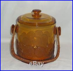 Fenton BIG COOKIES AMBER 7 MACAROON JAR withLID & RATTAN HANDLE