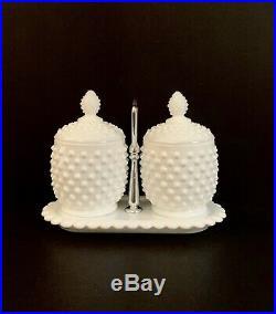 Fenton Hobnail Milk Glass Jam Jelly Jars Spoons Silver Handled Tray Set