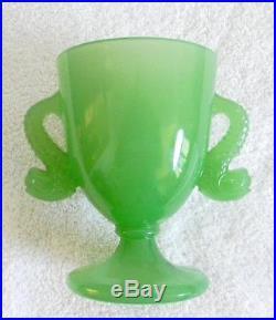 Fenton lidded jade green candy jar ca 1927 dolphin handles FREE SHIPPING