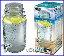 Fine Life Mason Jar Glass Beverage Dispenser With Wire Handle 1 Gallon