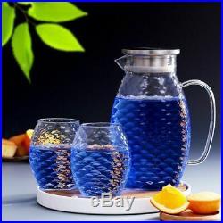 Fish Scale Glass Water Jug Set Tea Pitcher Cocktail Jar Cup Summer Drinkware Set