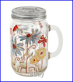(Flower) A Ting Glass Mason Jar with Handle and Lid 710ml, Flower. Brand New