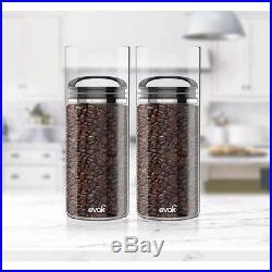Food Canister Organizer 46 oz. Black Glass Storage Jar Airtight Compact Handle