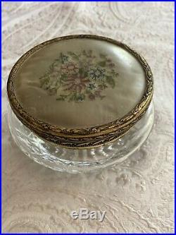 Footed Vanity Dresser Tray Lace Floral Doily Glass Brass Handles & Dresser Jar