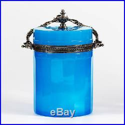 French Blue Opaline Glass Box Biscuit Jar Silver Ormolu Mounts flexible handle