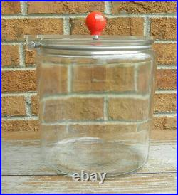 General Store Glass Candy / Pretzel Jar with Acrylic Lid, Red Ball Handle