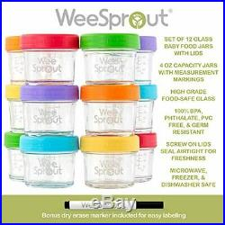 Glass Baby Food Storage Containers Set of 12 4 oz Glass Baby Food Jars with