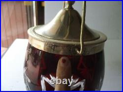 Glass Biscuit Jar with Silverplate lid handle Bohemian Czech Ruby Red cut to clear