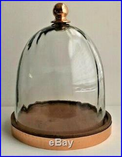 Glass Cloche Bell Jar French Country Terrarium Dome & Copper Handle & Wood Base