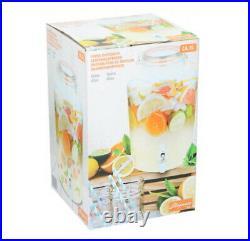 Glass Drink Dispenser With Tap & Lid Beverage Cocktail Juice Jar BBQ Ice Bucket