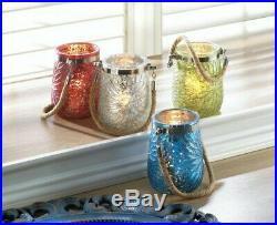 Glass Jar Candleholder Rope Handle Embossed Flower Red White Blue Green Choose 8
