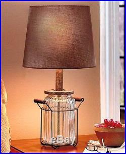 Glass Jar Table Lamp Rustic Primitive Country Vintage Design NEW Handles Light