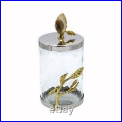 Glass Storage Jar Hammered Stainless Lid, Brass Leaves and Agate Geode Handle