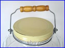 Glass Vintage Barrel Pickle Jar WithMetal Lid Wire Bale Wooden Handle 2 1/2 Gallon